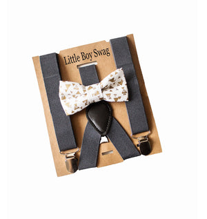 Dark Grey Suspenders Gold Bow Tie-Page Boy Outfit, Ring Bearer Outfit, Groomsmen Suspenders, Boy 1st Birthday Outfit, Cake Smash Outfit