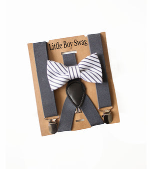 Dark Grey Bow Tie Suspenders-Page Boy Outfit, Baby Boy Gift, Ring Bearer Outfit, Boy 1st Birthday Outfit,Boy Cake Smash,Baby Shower Gift Boy