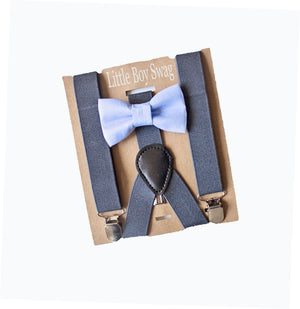 Dusty Blue Bow Tie Dark Grey Suspenders, Groomsmen, Ring Bearer, Cake Smash Outfit, Boys Birthday Outfit,  Boys -Men Bow Tie sizes,
