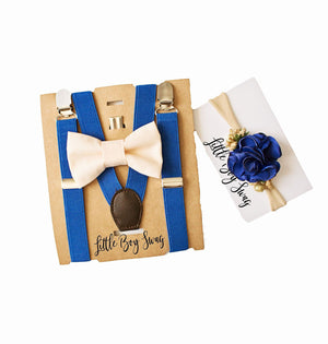 Big Brother Little Sister Set- Twins Birthday Outfit, Twins Gift, Baby Shower, Champagne Bow Tie Royal Blue Suspenders, Baby Girl Headband,