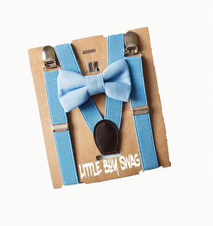 Light Blue Bow Tie & Suspender for Cake Smash Outfit, Baby Shower Gift, Ring Bearer Gift, First Birthday Outfit, Newborn-Toddler-Kids