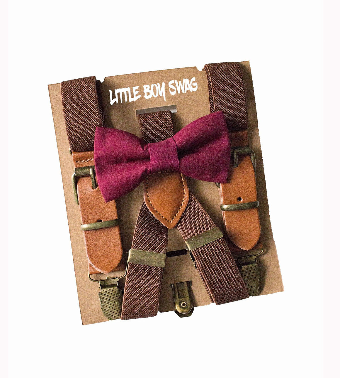 Rustic Boy Wine Bow Tie & Leather Suspenders for Ring Bearer/Page Boy Wedding Outfits, Boy First Birthday, Cake Smash,Boys Gift, Burgundy