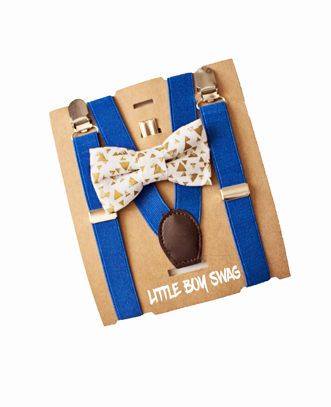 Ring Bearer Rehearsal Outfit - Gold Bow Tie & Royal Blue Suspenders, Boys First Birthday, Baby Shower Gift, Newborn Gift, Cake Smash Outfit