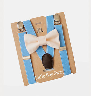 Champagne/Nude Bow Tie & Blue Suspenders for Cake Smash Outfit, First Birthday Outfit, BoysPage Boy Outfit, Groomsmen Bow Tie, Boys Gift,