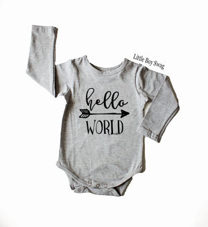 Personalized Baby Shower Gift, Newborn Hospital Gift, Boy Hello World Bodysuit Outfit, Home Coming Outfit, Birth Announcement Outfit