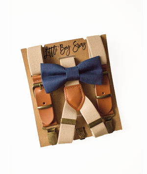 Khaki/Beige Rustic Leather Suspenders & Navy Bow Tie for Ring Bearer/Page Boy Outfit, Toddler Easter,Boy First Birthday, Rustic Cake Smash
