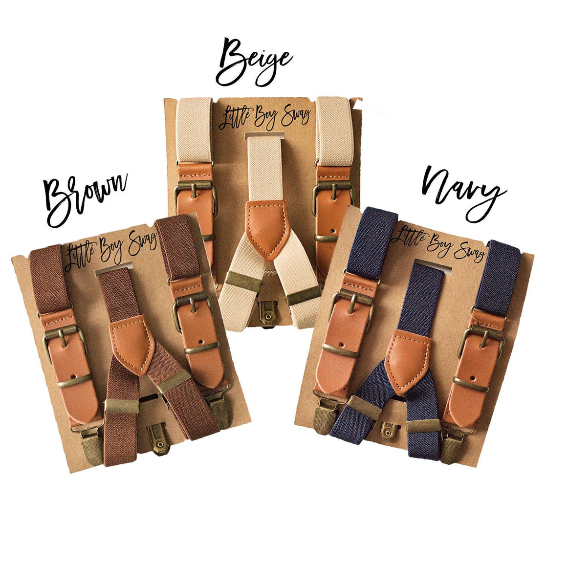 Leather Suspenders Brown/Beige/Navy - Newborn to Adult Sizes