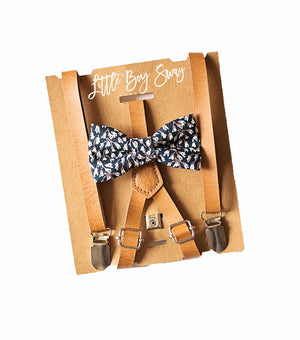 Boys Navy Floral Bow Tie Tan Skinny Leather Suspenders for Ring Bearer,Country Barn Wedding,Boys Photo Prop,Groomsmen Bow Tie,Toddler Braces
