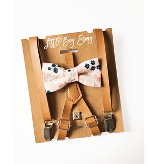 Rustic Leather Suspenders Blush Navy Floral Bow Tie for Boys 1st Birthday Outfit, Ring Bearer, Country Barn Wedding, Groomsmen Bow Tie