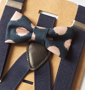 Navy Blush Bow Tie & Suspenders for Boys 1st Birthday Outfit, Cake Smash, Ring Bearer, Boys Gift, Baby Shower Gift, Matching Outfits