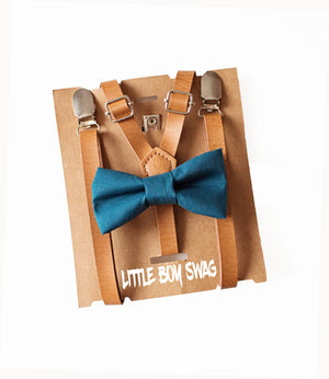 Boys Beige Leather Suspenders Teal Blue Bow Tie for Ring Bearer Outfit/ Suits, Rustic Wedding Outfit, Cake Smash, Boy 2nd Birthday, Gift