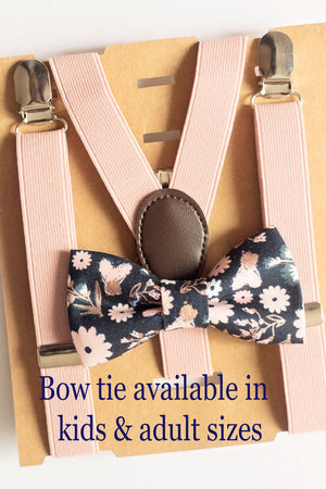 Blush/Dusty Rose Floral Bow Tie Suspenders for Ring Bearer Gift/Page Boy Outfit, Boy First Birthday,Cake Smash, Baby Shower Gift,Boys Braces