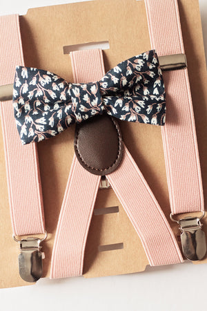 Rustic Ring Bearer Gift/Page Boy Outfit, Rustic -Blush/Dusty Rose & Navy Blue Floral Bow Tie Suspenders