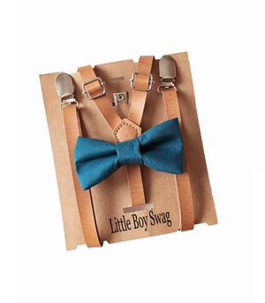 Teal Blue Boys Bow Tie Leather Suspenders for Rustic Weddings, Page Boy/Ring Bearer Outfit, Infant-Toddler-Kids sizes,