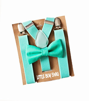 Boy Turquoise Bow Tie & Suspenders for First 2nd Birthday Outfit, Cake Smash Outfit, Boys Baby Shower Gift, Ring Bearer, Beach wedding