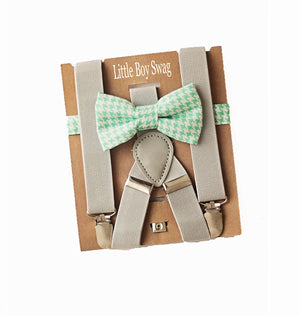 Boys Mint Bow Tie Grey Suspenders for Cake Smash Outfit, Ring Bearer/Page Boy, Baby Shower Gift for Boys, Beach Wedding Outfit Kids