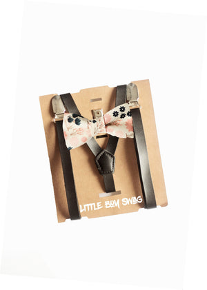 Blush Floral Bow Tie Black Leather Suspenders - Boys To Men Sizes