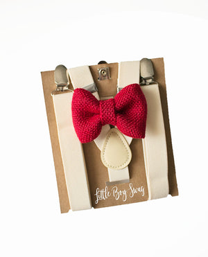 Rustic Red Burlap Bow Tie Ivory Suspenders for Ring Bearer Outfit,Barn/Country Wedding, Boys Gift, Sizes from Newborn upto Adults, braces