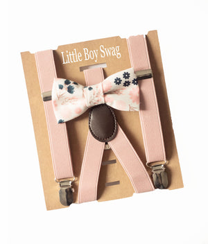 Blush Dusty Rose Floral Bow Tie & Suspenders - Boys To Men Sizes