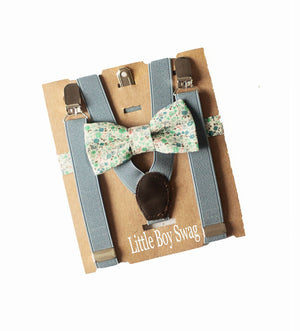 Boys Dusty Blue/Slate Floral Bow Tie & Suspenders for Page Boy Gift, Ring Bearers Outfit,Boys Cake Smash,First Birthday Boy,Baby Shower Gift