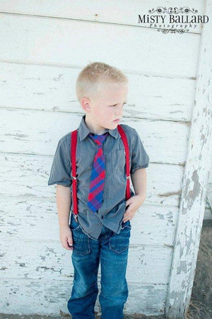 Boys Red  Suspenders - Newborn to Teen