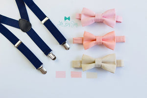 Ring Bearer Oufit, Boys Navy Suspenders Peach Blush Nude Bow Tie, Kids Adult Bow Tie Suspenders, Ring Bearer Outfit, Baby Boy Bow Tie
