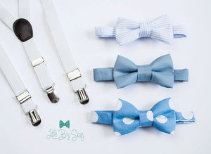 Boys White Suspenders Blue Bow Tie, Kids Adult Bow Tie, Ring Bearers Outfit, Baby Boy Bow Tie, First Birthday Boy, Boys Cake Smash Outfit