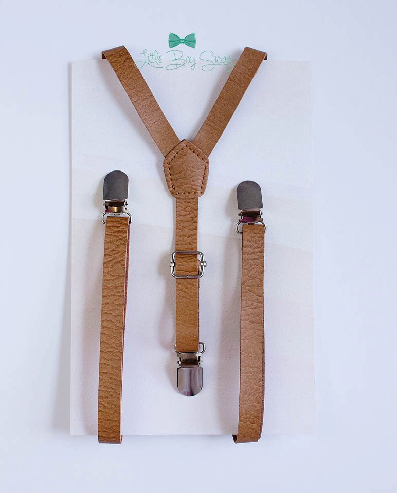 Leather Suspenders in Tan/Beige - Newborn to Adult Sizes