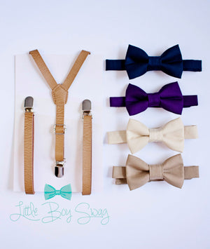 Beige Leather Suspenders Nude Tan Purple Navy Bow Ties for Boys, Wedding Bow Tie, Ring Bearer Outfit, Baby Boy Bow Tie, Boys Suspenders