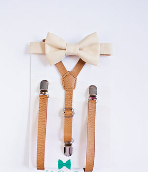 Boys Men Nude Bow Tie with Beige Tan Leather Suspenders, Boys Bow Tie and Suspender, Boy Suits, Wedding Bow Tie, Ring Bearer Outfit, Bow Tie