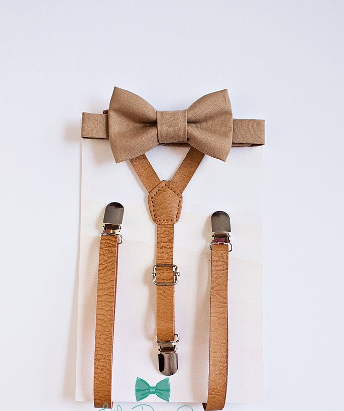 Sandy Brown Bow Tie And Tan Leather Suspenders
