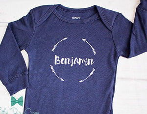 Boys Personalized Bodysuits in Navy, Birth Announcement Outfit, Newborn Home Coming, Baby Shower Gift, Boys Birthday Outfit, Boys Cake Smash