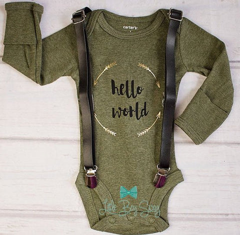 Boy Newborn Hello World Outfit..Newborn Bodysuits..Cake Smash personalized Outfit..Baby Shower Gift..Newborn Gift..Baby Boy Outfit..Baby Boy