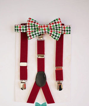Red Green Boy Bow tie suspenders set..Toddler bow tie.. Boy holiday outfit..Ringbearer outfit..Photo prop..1st birthday boy..Wedding..Bowtie
