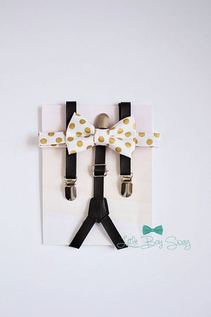 Boys Bow Tie Leather Suspenders Set, Bow Tie Suspenders, Ring Bearer Outfit, Boy Birhday, Baby Boy Suspenders, Boy Cake Smash, Gold Wedding