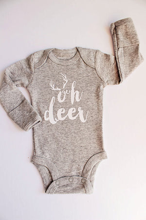 Boys Gray Bodysuit, Oh Deer, Boys Clothes, Newborn Bodysuit, Baby Boy Outfit, Baby Shower Gift, Newborn Gift, Boy Gift, Boy Home Coming