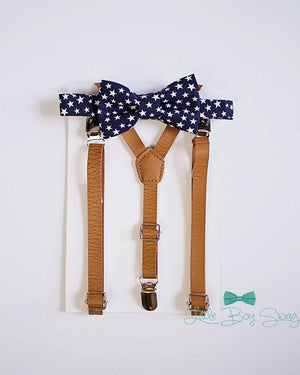 Navy Stars Bow Tie Tan Leather Suspenders, Boys Suits, Wedding Bow Tie, Fall Wedding, Ring Bearer Outfit, Boy Bow Tie, Kids Suspenders, Boys