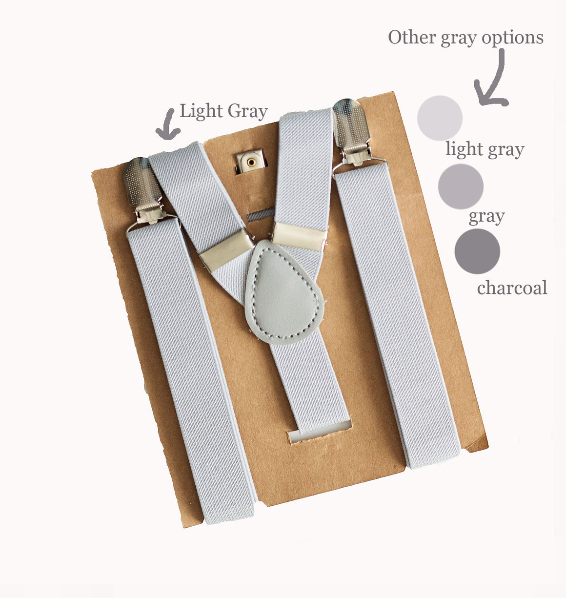 Light Gray Suspenders - Newborn to Adult sizes