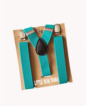 Teal Suspenders - Newborn to Adult sizes