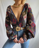 Vintage 90's Colorblock Chunky Cardigan