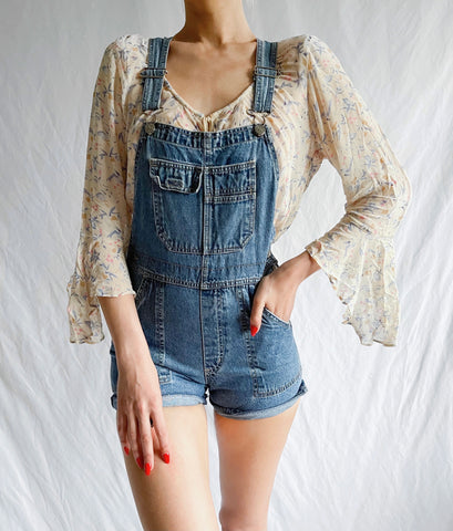 Vintage 90's Denim Carpenter Bib Overall Shorts