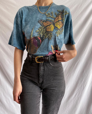 Vintage 90's Blue Marble Butterfly T-Shirt