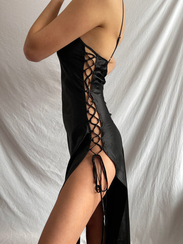 Victoria Secret Double Corset Slit Black Satin Slip Dress