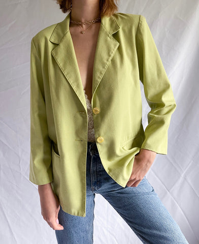 Vintage 90's Chartreuse Pocketed Blazer Jacket