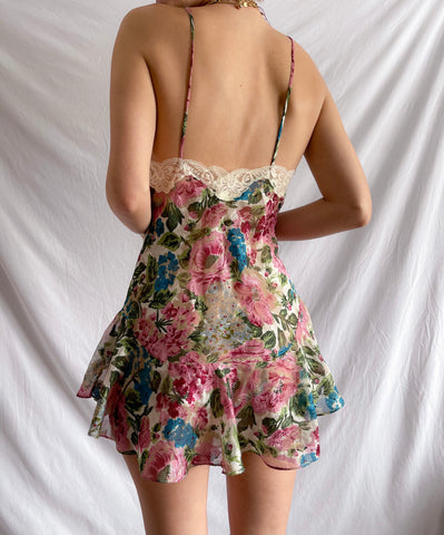 Vintage 80's Gold Label Victoria Secret Floral Slip