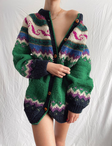 Vintage Hand Knit Chunky Campfire Cardigan