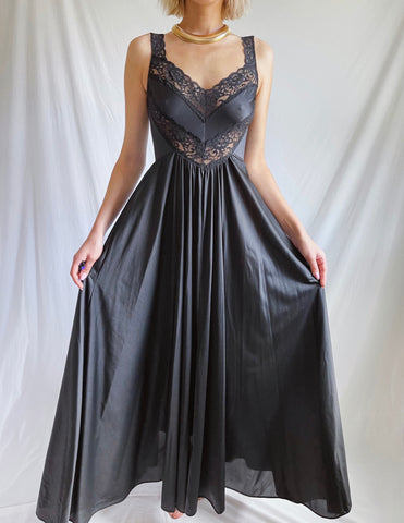 Vintage 80's Black Lace Panel Night Gown