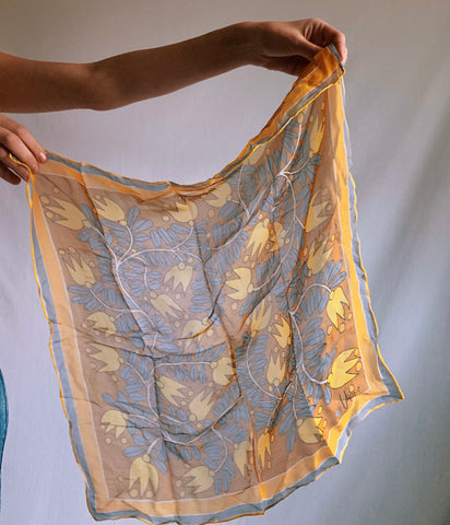 Vintage 100% Silk Mustard Patterned Square Scarf