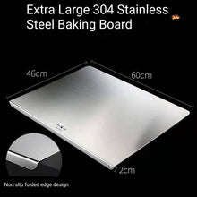 Load image into Gallery viewer, Extra Large 304 Stainless Steel Baking Board with Dough Scraper and Rolling Pin
