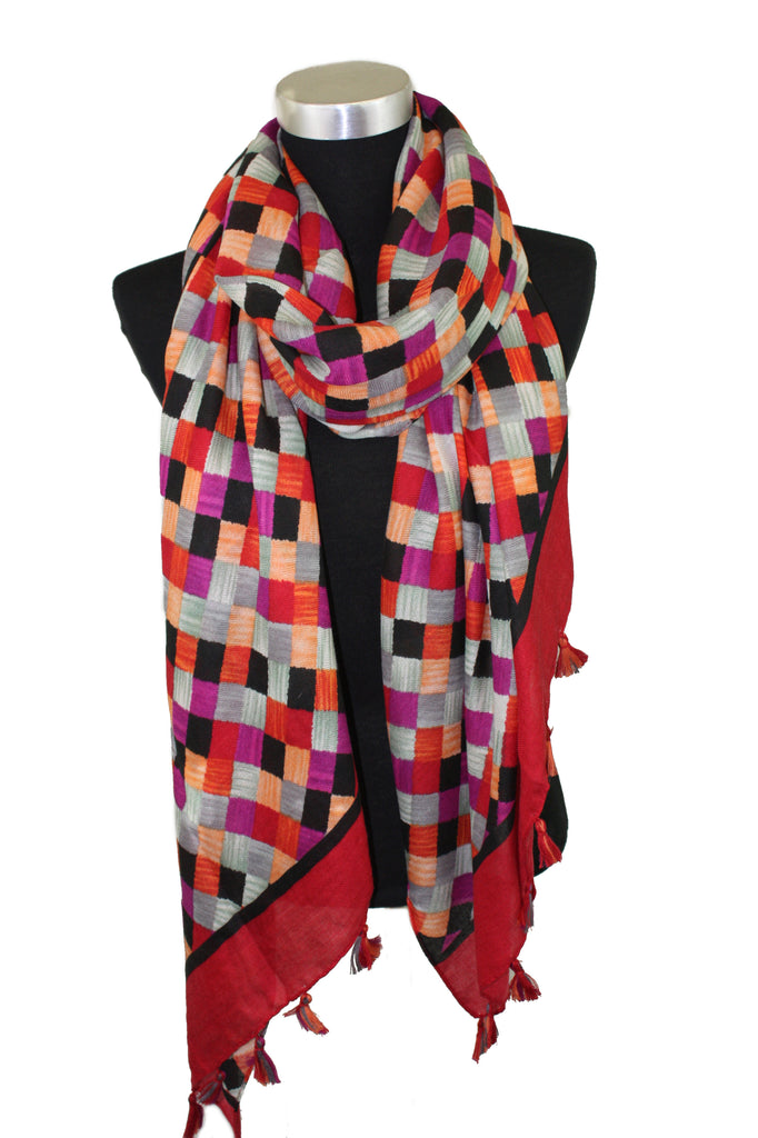 Colorful Checkered Scarf with Tassels